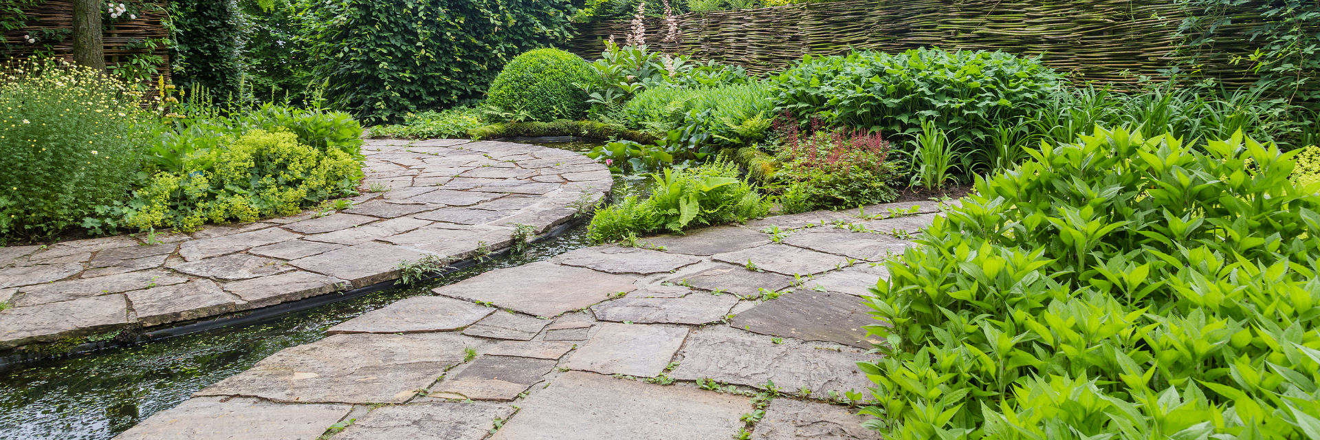 A landscaped garden with hardscapes.