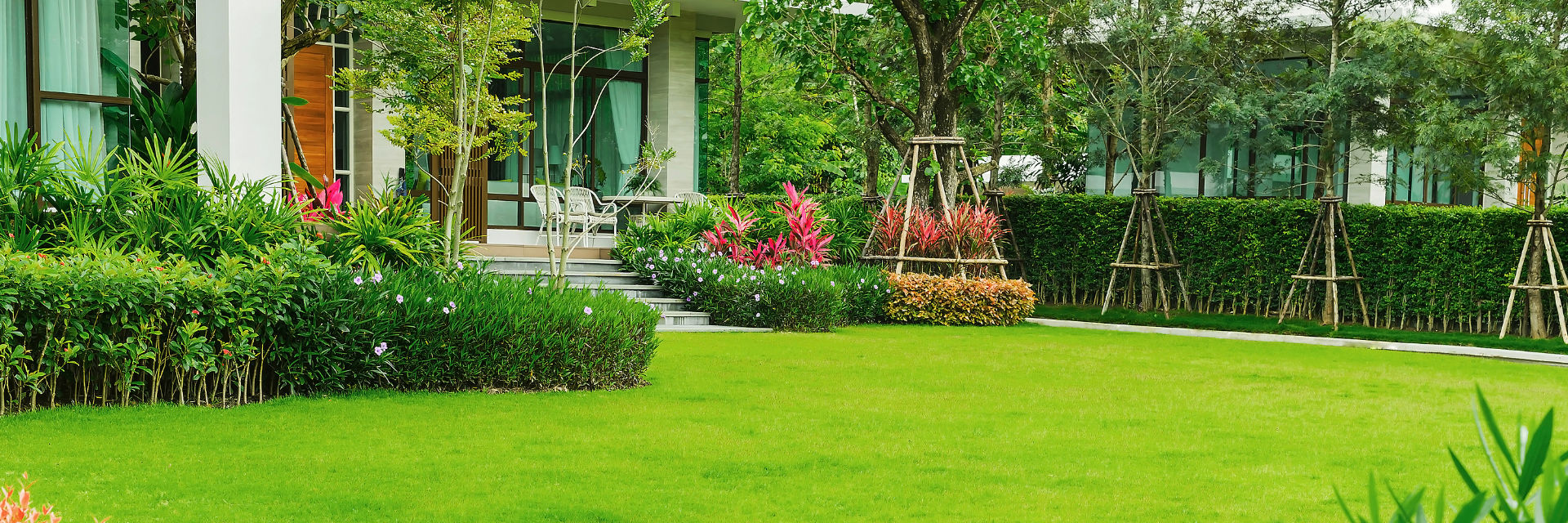 Professionally landscaped backyard with a manicured lawn.